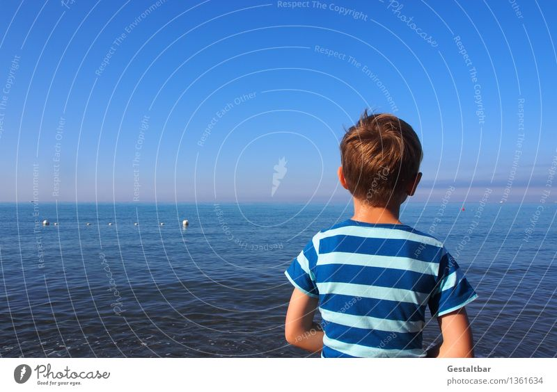 Human being Child Sky Nature Blue Summer Water Ocean Landscape Relaxation Coast Boy (child) Hair and hairstyles Head Masculine Dream
