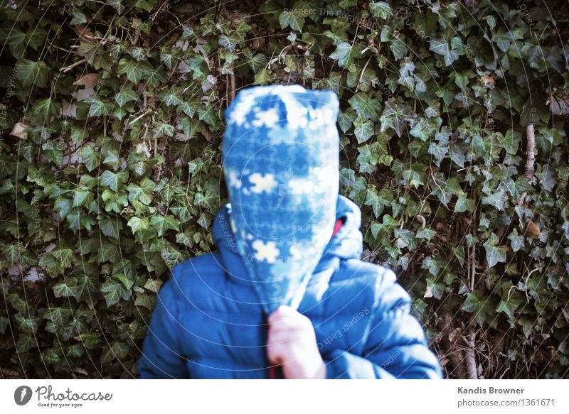 Child with cap in front of texture Masculine Toddler Boy (child) 1 Human being 1 - 3 years Punk Autumn Plant Bushes Jacket Mask Cap To hold on Stand Authentic