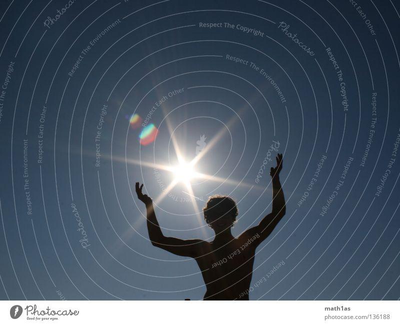sun worshippers Back-light Silhouette Man Masculine Summer Sun Lighting Musculature Shadow Blue Star (Symbol)