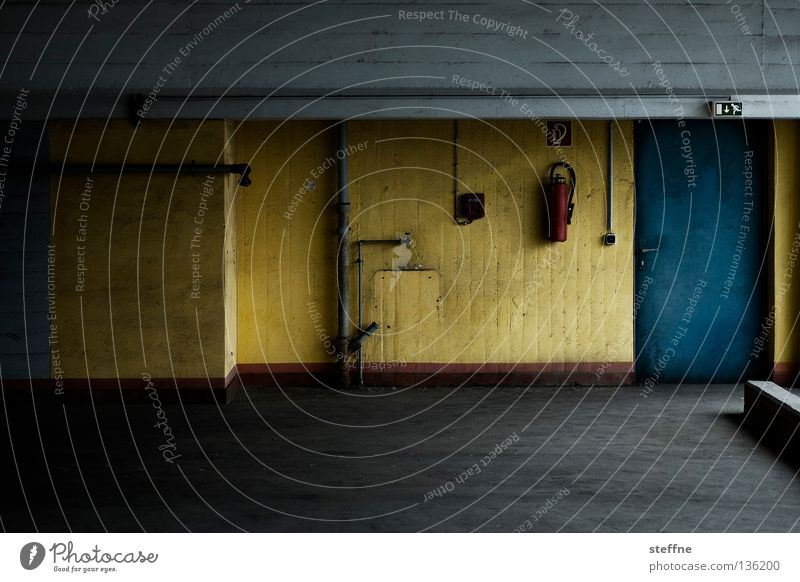 dashes of colour Parking garage Concrete Gray Gloomy Extinguisher Yellow Building Garage Underground garage Parking level Escape route Detail Derelict