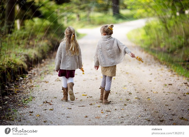 Human being Child Nature Relaxation Girl Forest Environment Autumn Natural Feminine Happy Family & Relations Together Friendship Contentment Hiking
