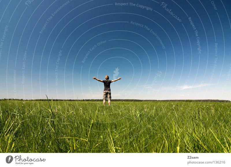 freedom April Relaxation To enjoy Grass Green Light blue Man Masculine Cap Rest Sky Summer Sunday Jump Style White Meadow Clouds Physics Juicy Force Calm Free