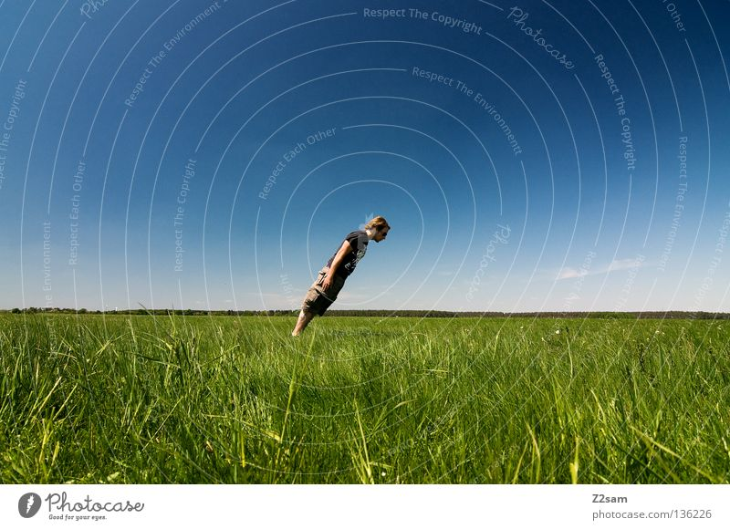 lateral thinkers Across Motionless Stand Crazy Contentment April Relaxation To enjoy Grass Green Light blue Man Masculine Cap Rest Sky Summer Sunday Jump Style