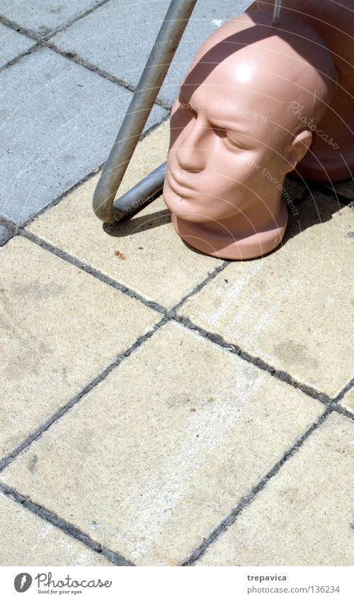 Man City Yellow Street Death Head Gray Fear Skin Concrete Floor covering Creepy Statue Doll Forget Headless