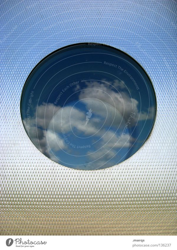 Summer Clouds Colour Wall (building) Window Metal Architecture Glass Door Circle Round Vantage point Information Mirror Obscure Symbols and metaphors