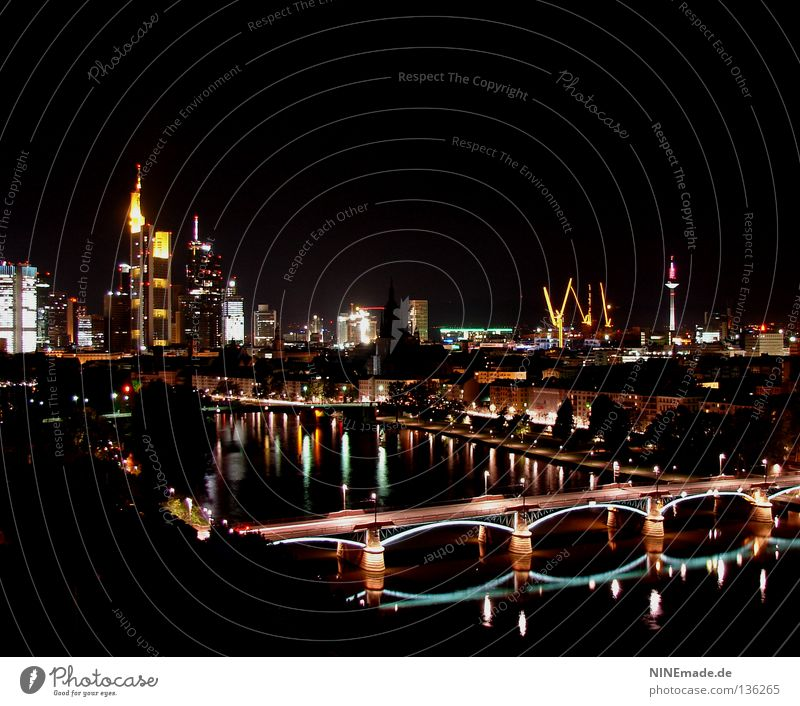 Water City Black Yellow Street Lamp Lighting High-rise Bridge River Bench Romance Tower Store premises Skyline