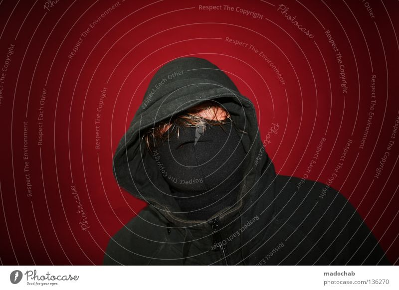 Human being Man Youth (Young adults) Red Black Hair and hairstyles Power Blonde Clothing Force Mask Trashy Hide Thief Anonymous Hooded (clothing)