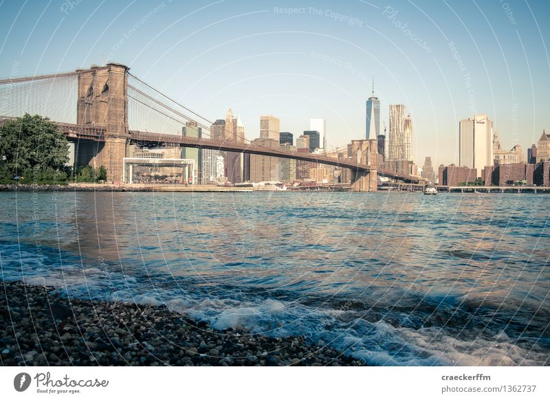 NYC Vacation & Travel Tourism Far-off places Sightseeing City trip New York City USA Town Skyline Bridge Tourist Attraction Observe Going Cool (slang) Blue