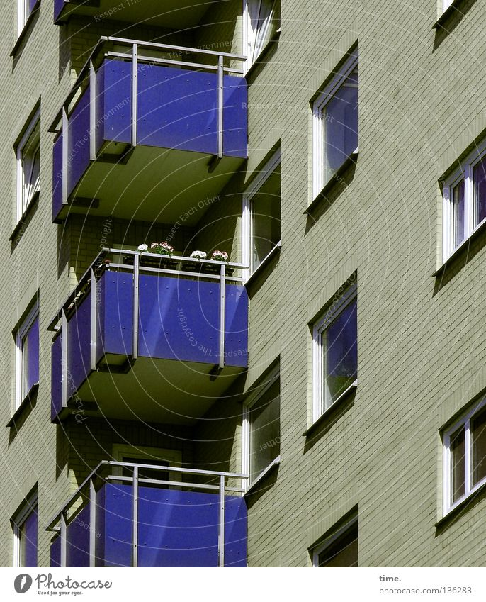 Blue House (Residential Structure) Relaxation Window Wall (barrier) Flat (apartment) Facade Leisure and hobbies Beautiful weather Observe Balcony Diagonal Hollow Boredom Vertical Symmetry