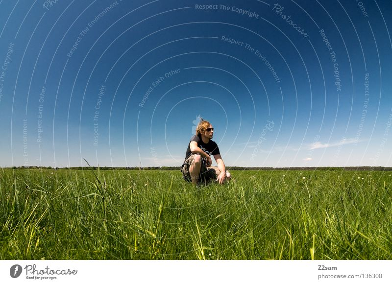 Man Nature Youth (Young adults) Sky White Green Blue Summer Calm Far-off places Colour Relaxation Meadow Jump Style Grass