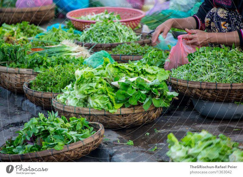 vegetables Food Vegetable Lettuce Salad Blue Brown Green Violet Pink Red White Markets Vegetable market Sell Basket Fresh Merchant Vietnam Vietnamese