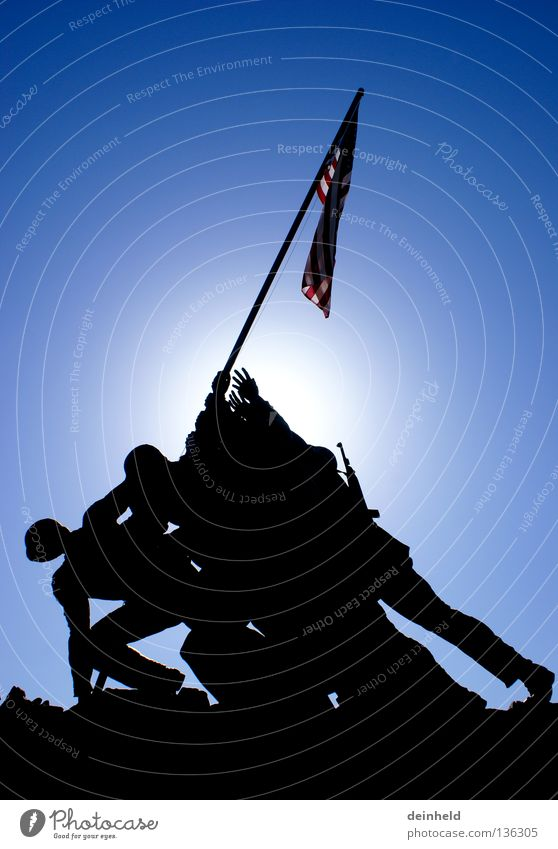 Man Sun Blue Black Success USA Flag Americas Monument Historic War Soldier Honor Navy Battle