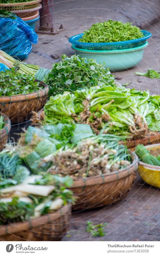 vegetables Food Vegetable Lettuce Salad Blue Brown Gray Green Turquoise White Basket Sell Markets Vegetable market Herbs and spices Fresh Offer Esthetic Vietnam