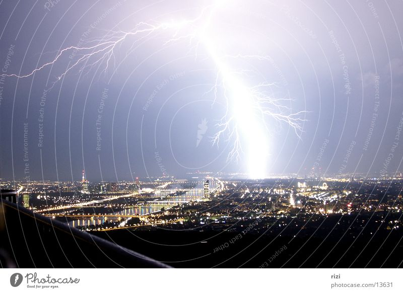 Lightning over Vienna Night Panorama (View) Town Long exposure Large