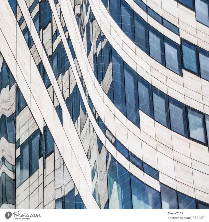 Swing must be Town House (Residential Structure) Manmade structures Building Architecture Facade Window Exceptional Sharp-edged Blue Curve curvy Direct Tilt