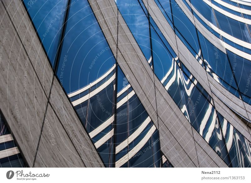 Reflections with momentum Town House (Residential Structure) Building Architecture Modern Blue Colour photo Exterior shot Detail Abstract Pattern Deserted Day