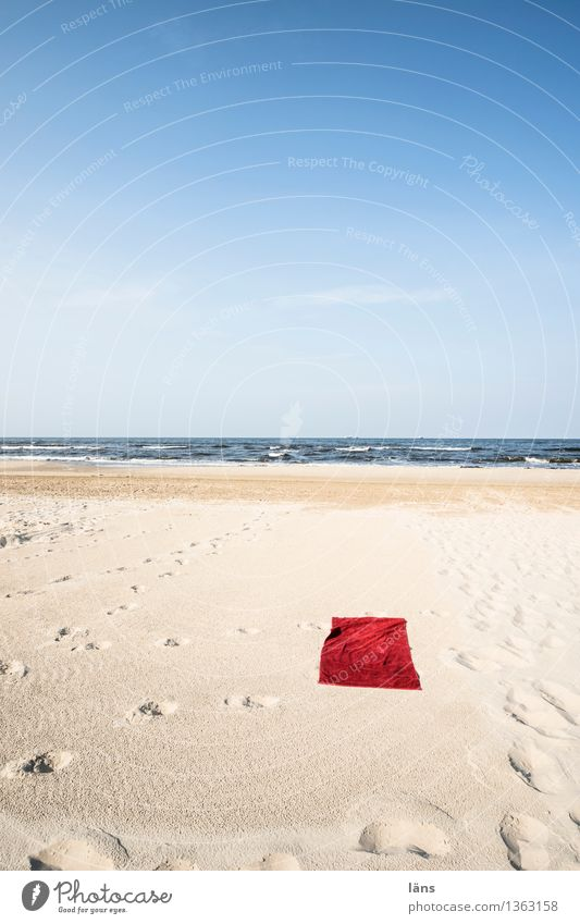 space conditions Towel Beach Baltic Sea Usedom Vacation & Travel Loneliness Deserted Empty Sand Ocean Maritime Sun Summer