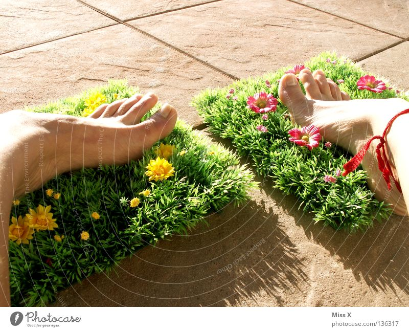 plastic slippers Colour photo Exterior shot Detail Vacation & Travel Summer Flat (apartment) Garden Feet Spring Flower Grass Blossom Balcony Terrace Yellow