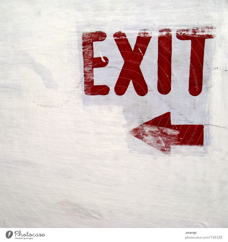 EXIT Letters (alphabet) White Left Red Direction Word Way out Escape route Highway ramp (exit) Fear Panic Signs and labeling Characters Lanes & trails Arrow
