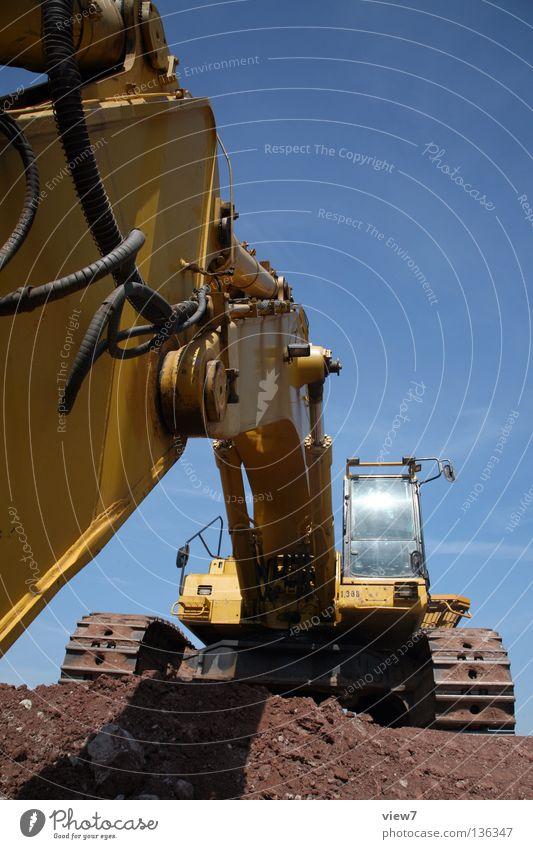 dredging perspective Excavator Machinery Steel Construction site Construction machinery Joint Heavy Threat Under Worm's-eye view Diesel Yellow Break Weekend