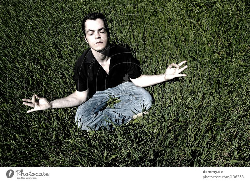 refuel Man Fellow Relaxation Yoga Meditation Fingers Hand White Grass Field Summer Black Pants Eyebrow Lips Closed Concentrate Arm Pallid Skin Jeans Eyes Nose