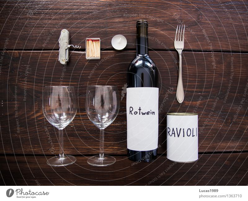 Second Date Food Ravioli Tin Nutrition Eating Beverage Red wine Glass Fork Candle Candle Light Dinner Match Bottle opener Switchblade Wooden table Wooden board