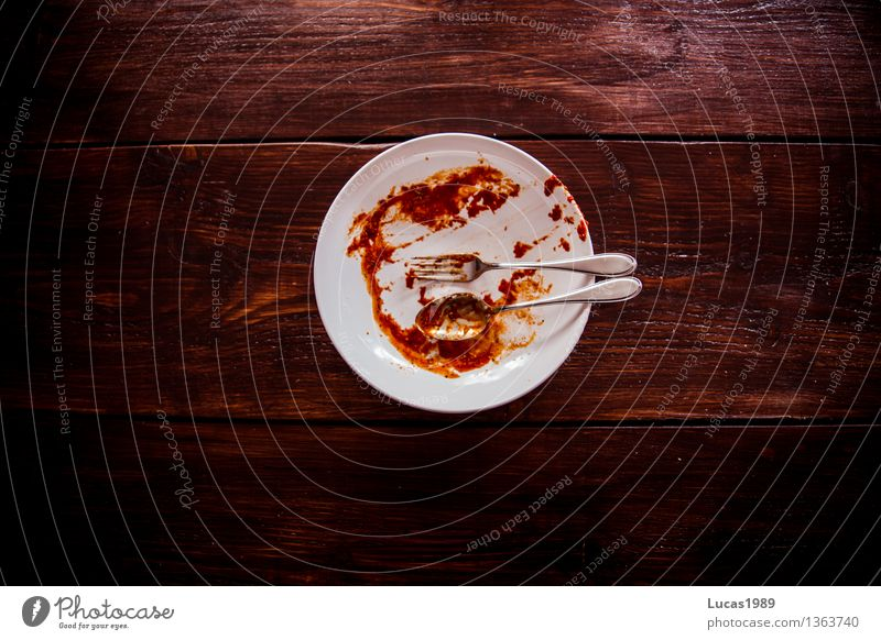 Meal - Super Still Life Food Noodles Spaghetti Tomato Tomato sauce Sauce Do the dishes Plate Cutlery Fork Spoon Dirty Clean Cleaning Nutrition Eating Lunch