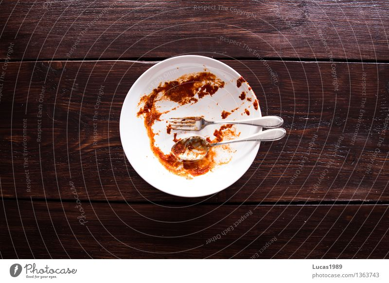 Noodles with tomato sauce - Afterwards - Super Still Life Food Tomato sauce Nutrition Eating Lunch Dinner Business lunch Vegetarian diet Italian Food Fork Spoon