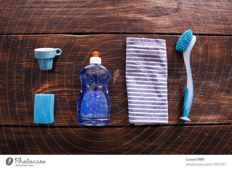 Dish washing - Super Still Life Nutrition Cup Espresso Sponge Detergent Rinse Brush Dish towel Wooden table Wooden board Cleaning Blue Brown White Do the dishes