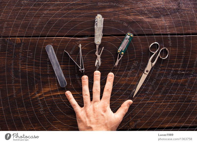 Beauty - Super Still Life Beautiful Personal hygiene Manicure Pedicure Cosmetics Nail polish Skin Hand Fingers Fingernail Select Utilize Brown Wooden board