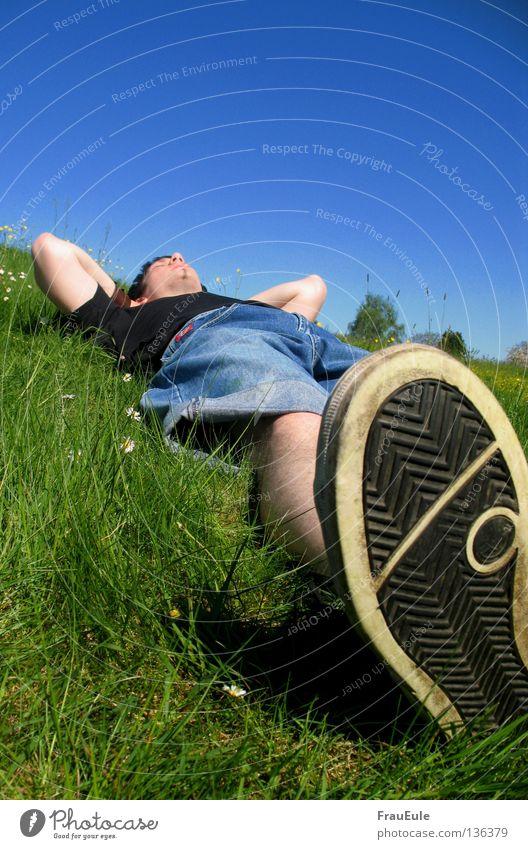 chill Sunbeam To enjoy Meadow Green Flower Daisy Dandelion Hill Summer Seasons Relaxation Sky Moody Footwear Yawn Joint Sleep Dream Man sun sunshine Blue