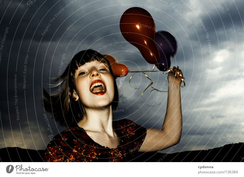 Woman Human being Sky Girl Red Flower Joy Clouds Playing Emotions Style Party Laughter Moody Brown Mouth