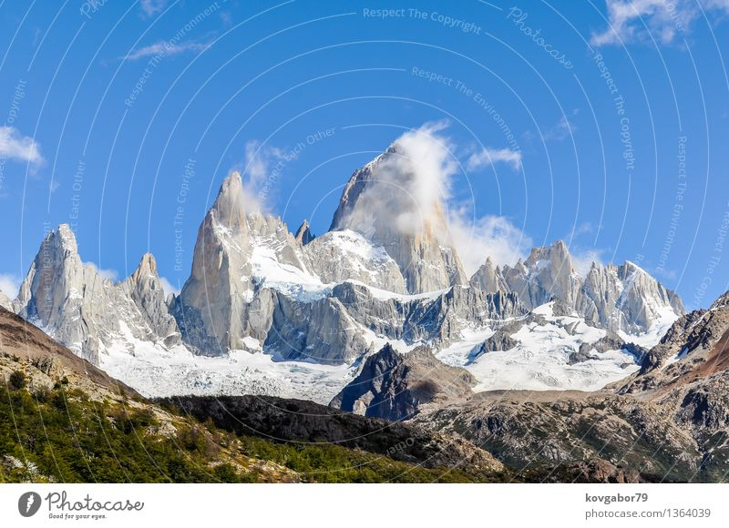 The Peaks of Fitz Roy mountain, Argentina Sky Nature Blue Landscape Mountain Snow Lake Rock Park Hiking Vantage point Climbing South Mountaineering Glacier