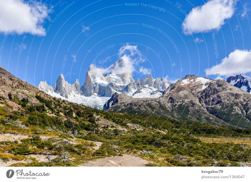 Peaks of Fitz Roy in the valley, El Chalten, Argentina Snow Mountain Hiking Climbing Mountaineering Nature Landscape Sky Park Rock Glacier Lake Blue Patagonia
