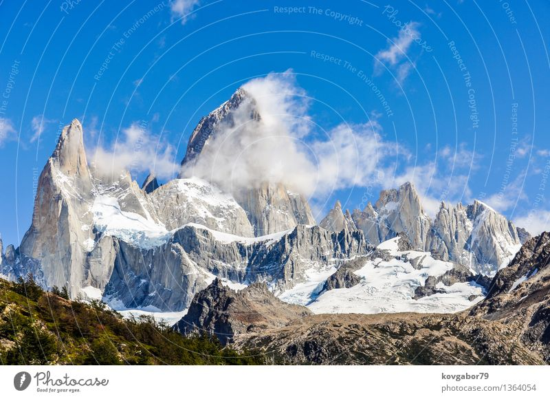 Fitz Roy Peak, El Chalten, Patagonia, Argentina Sky Nature Blue Landscape Mountain Snow Lake Rock Park Hiking Vantage point Climbing South Mountaineering