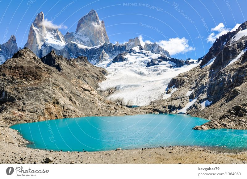 Lagoon Fitz Roy close to El Chalten, Argentina Snow Mountain Hiking Climbing Mountaineering Nature Landscape Sky Park Rock Glacier Lake Blue Patagonia