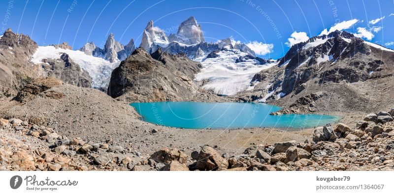 Panorama, Fitz Roy close to El Chalten, Argentina Sky Nature Blue Landscape Mountain Snow Lake Rock Park Hiking Vantage point Climbing South Mountaineering