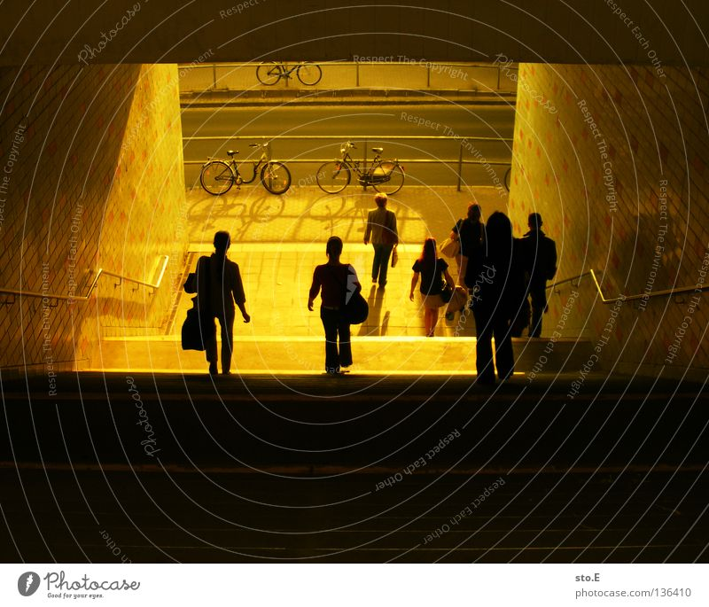 Human being Sun Street Building Line Bright Bicycle Lighting Stairs Places Level Tunnel Train station Traffic infrastructure Diagonal