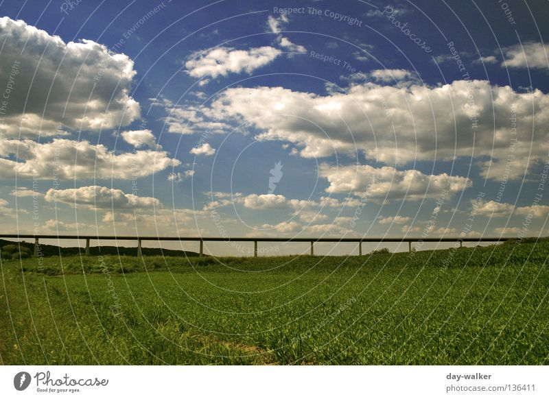 Nature Sky Clouds Street Meadow Lanes & trails Field Concrete Bridge Lawn Hill Highway Agriculture Steel Manmade structures