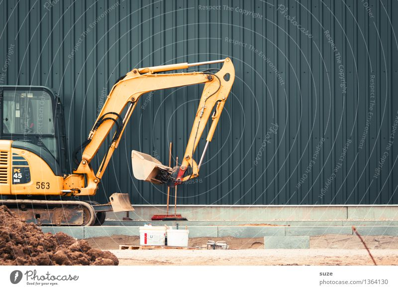 Yellow Wall (building) Wall (barrier) Gray Stone Sand Metal Work and employment Industry Construction site Footpath Break Sidewalk Services Workplace Excavator