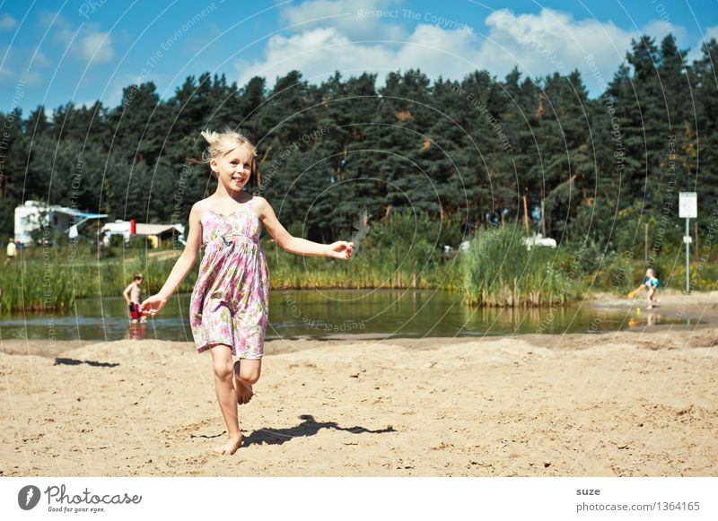 lucky child Joy Leisure and hobbies Vacation & Travel Summer Summer vacation Human being Child Infancy 1 8 - 13 years Nature Sand Beautiful weather Forest Lake