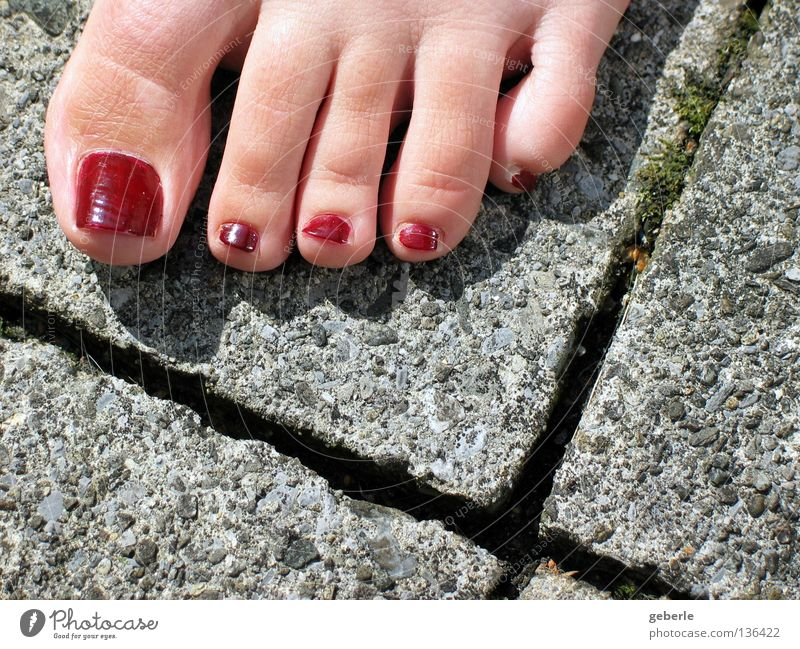 toe salute Toes Concrete Red Green Gray 5 Easy Elated Triangle Seam Summer Woman Feminine Feet Skin Joy Above Barefoot