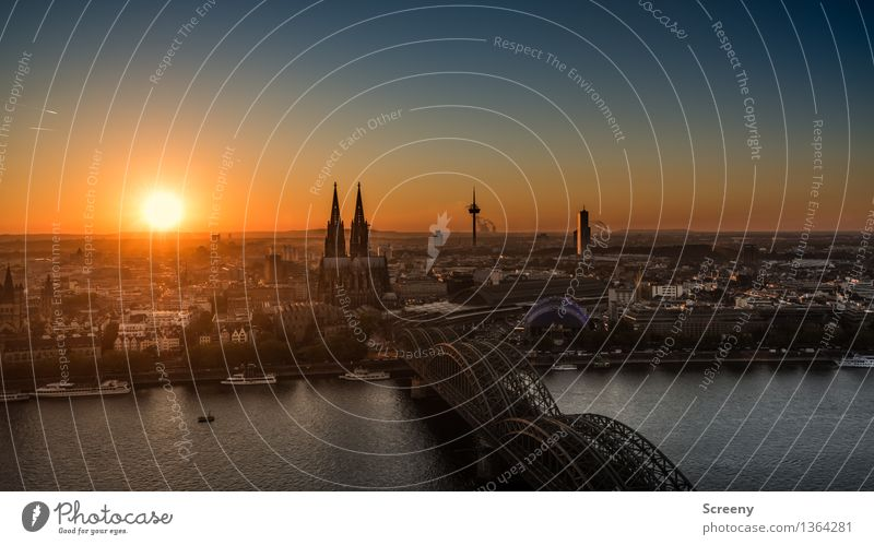 Full Broadside Kölle Water Sky Cloudless sky Beautiful weather Rhine Cologne Germany Europe Town Downtown Old town Skyline Populated