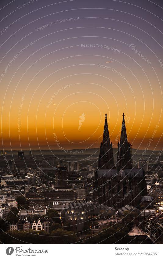 Mer losse d'r Dom en Kölle Landscape Sky Cloudless sky Horizon Sunrise Sunset Summer Autumn Beautiful weather Cologne Germany Europe Town Downtown