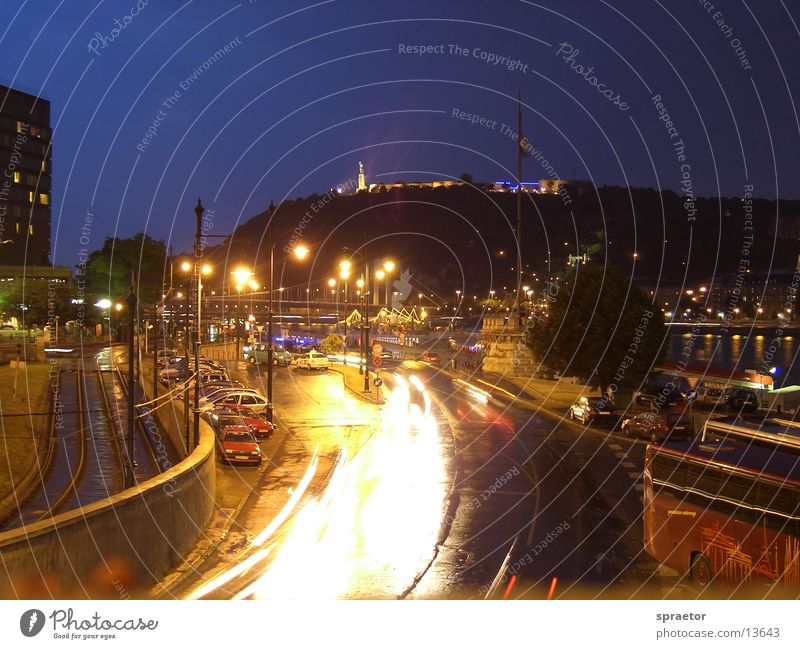 Budapest nightlife Light Exposure Town Europe afterlife Car Street Hungarian Capital city