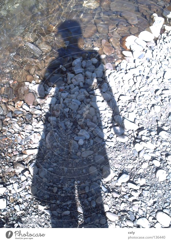 shadow figure Self portrait Leisure and hobbies Unwavering Joy Water Stone River Shadow Human being