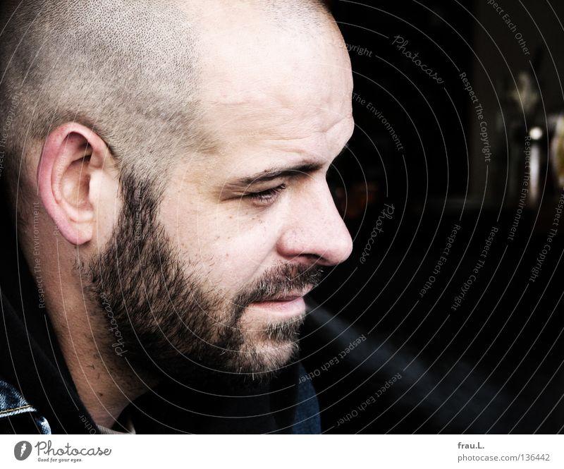profile Man Shaven Designer stubble portrait Silhouette Smoke Serene Attractive Human being Gastronomy Stubble Profile Smoking