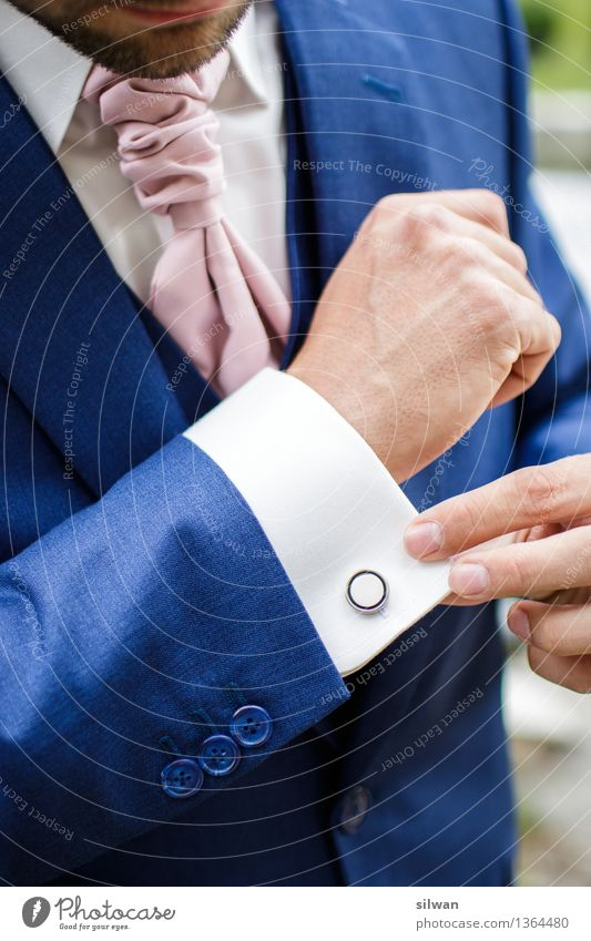 Gentleman - groom in suit Wedding Masculine Young man Youth (Young adults) Hand Fingers 1 Human being 18 - 30 years Adults Shirt Suit Accessory Glittering