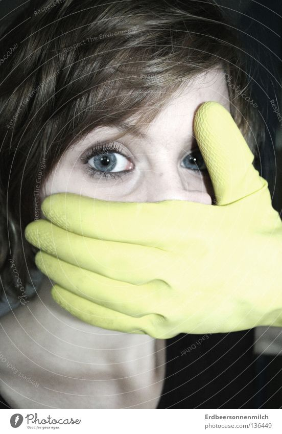 Open your mouth to your eyes Cold Yellow Panic Grief Distress Fear Boredom Shock rubber glove Eyes Hair and hairstyles Blue Pallid Hopelessness Work gloves