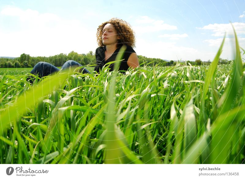 Woman Sky Nature Green Sun Summer Loneliness Clouds Adults Relaxation Landscape Meadow Graffiti Warmth Grass Spring